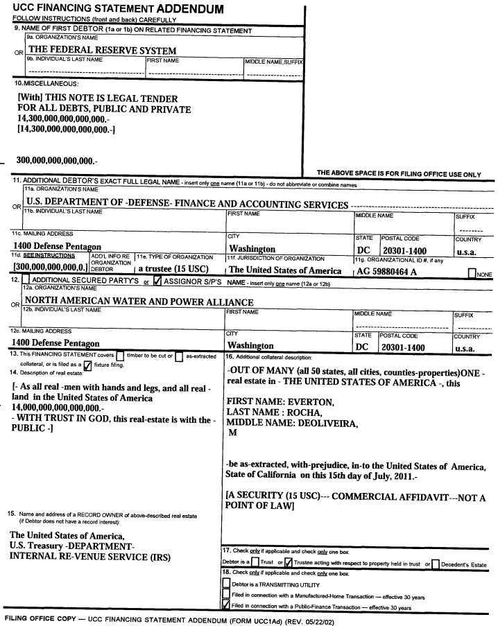 $14.3 Quadrillion Lien Taken Against All U.S. Land, Real Estate and People on July 28, 2011 – The Millennium Report